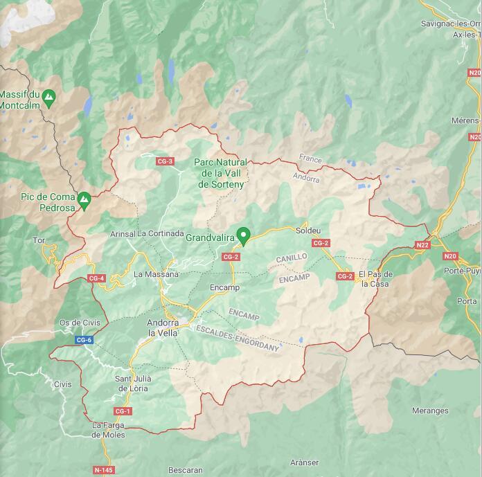 Andorra Border Map