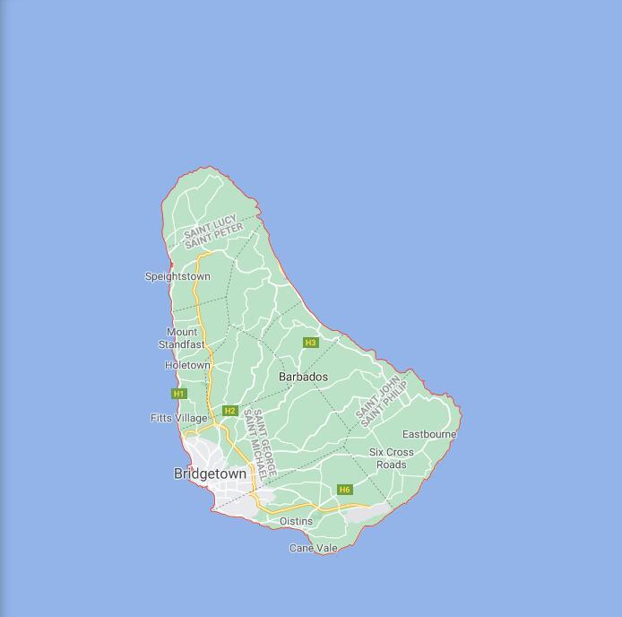 Barbados Border Map