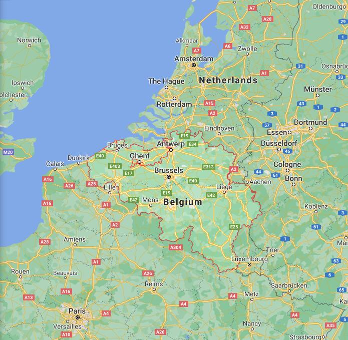 Belgium Border Map