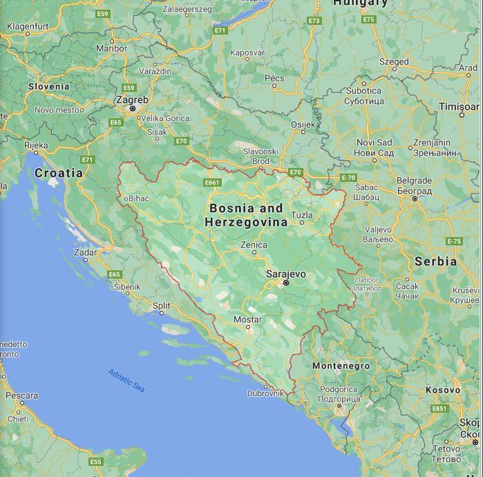 Bosnia and Herzegovina Border Map