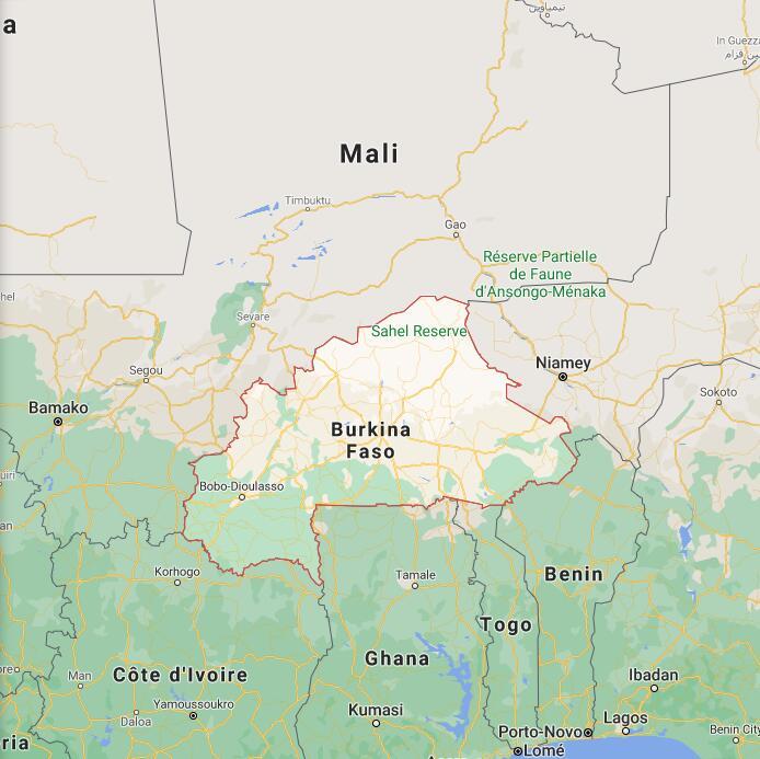 Burkina Faso Border Map