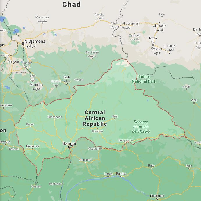 Central African Republic Border Map