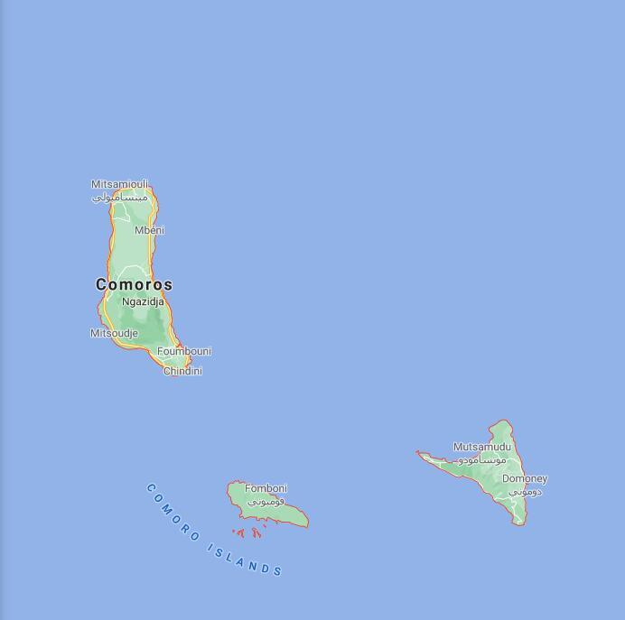 Comoros Border Map