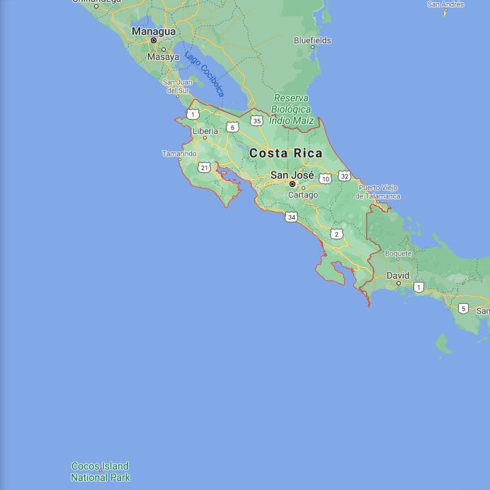 Costa Rica Border Map