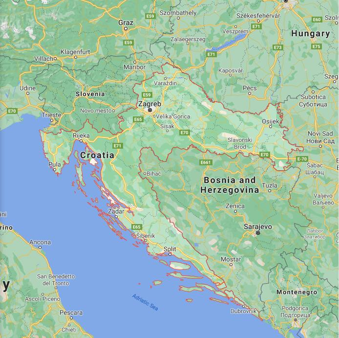 Croatia Border Map