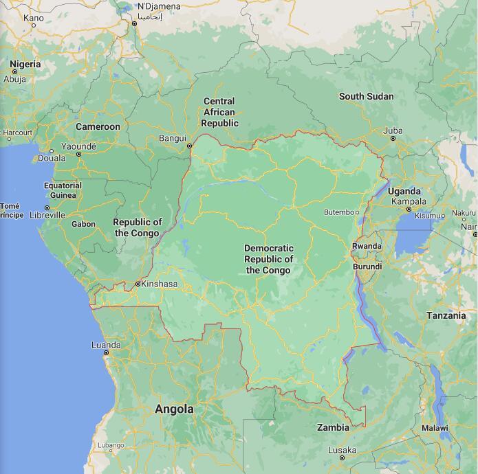 Democratic Republic of The Congo Border Map