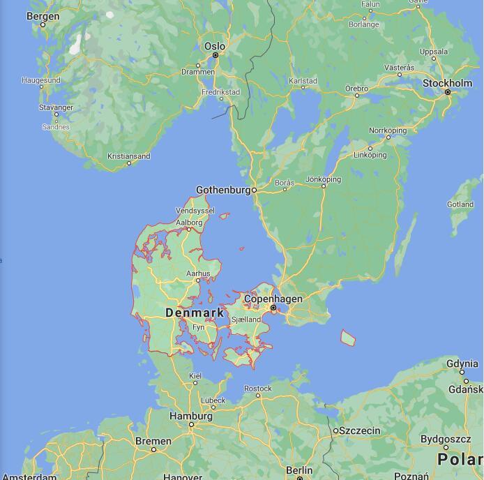 Denmark Border Map