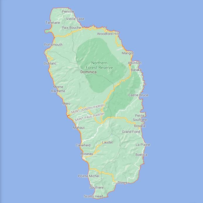 Dominica Border Map