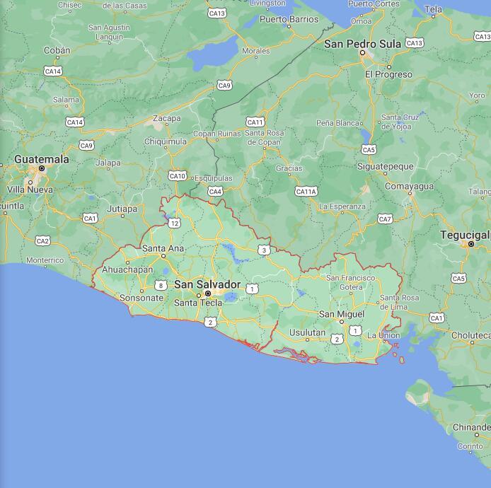 El Salvador Border Map