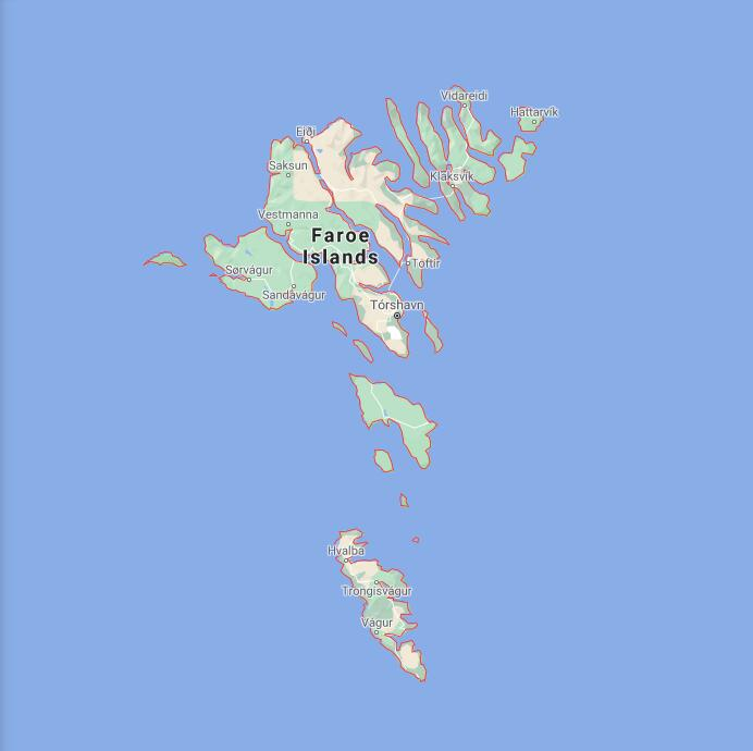 Faroe Islands Border Map