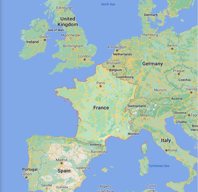 France Border Map