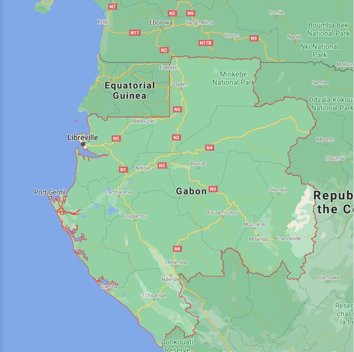 Gabon Border Map