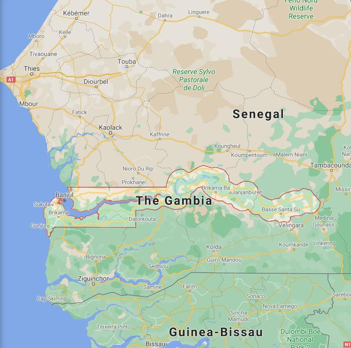 Gambia Border Map