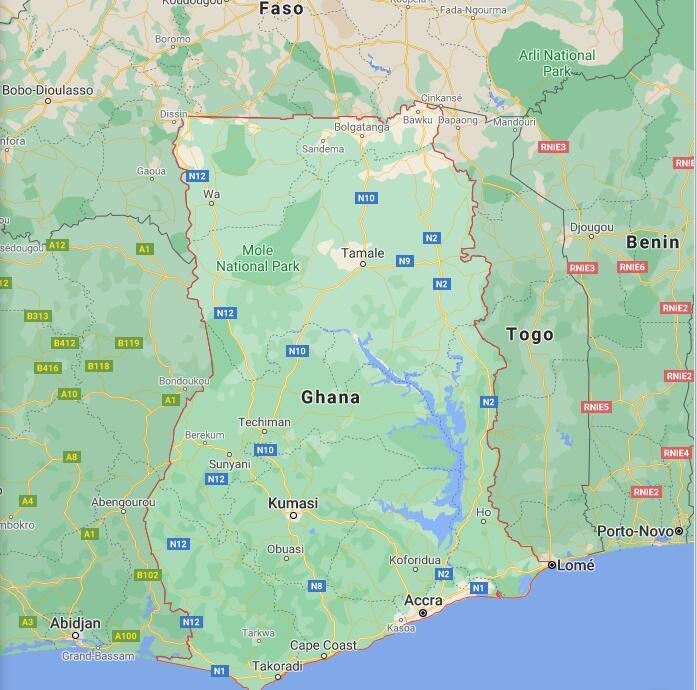 Ghana Border Map