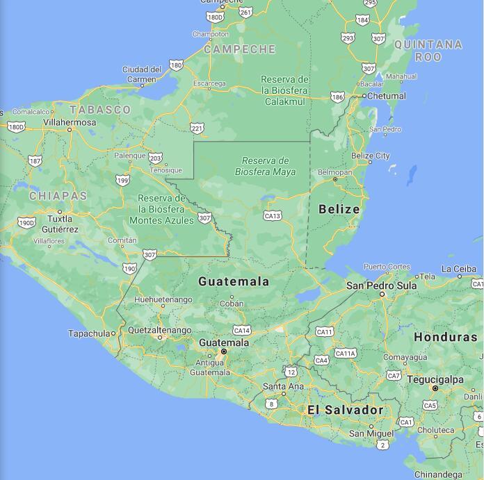 Guatemala Border Map