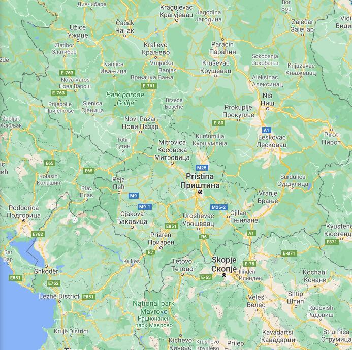 Kosovo Border Map