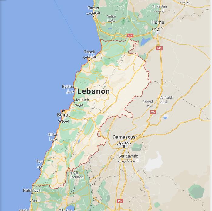 Lebanon Border Map