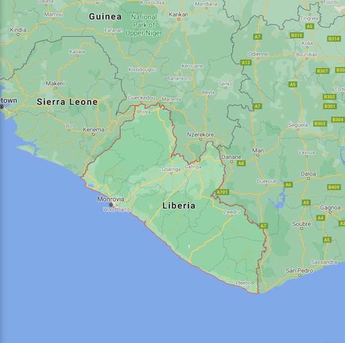 Liberia Border Map