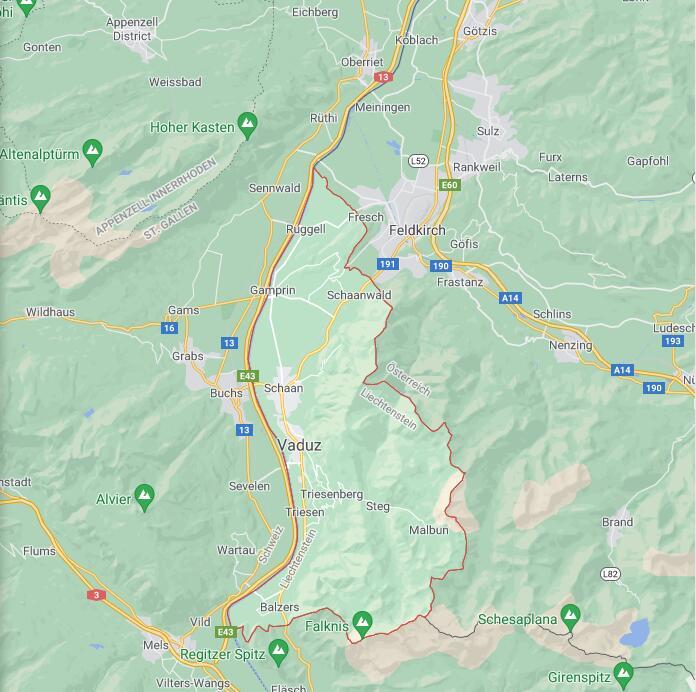 Liechtenstein Border Map