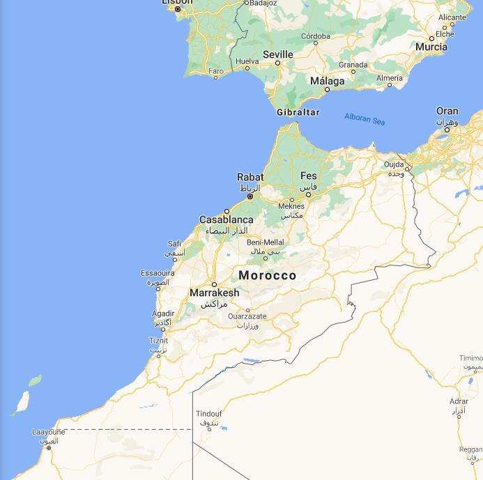 Morocco Border Map