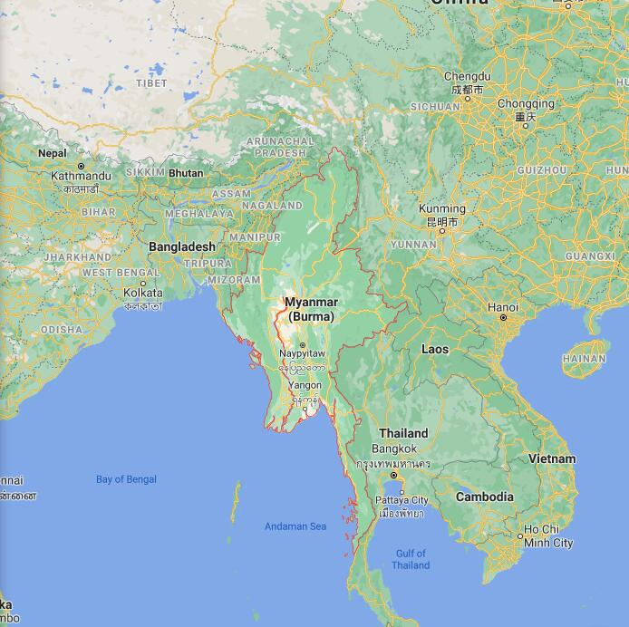 Myanmar Border Map