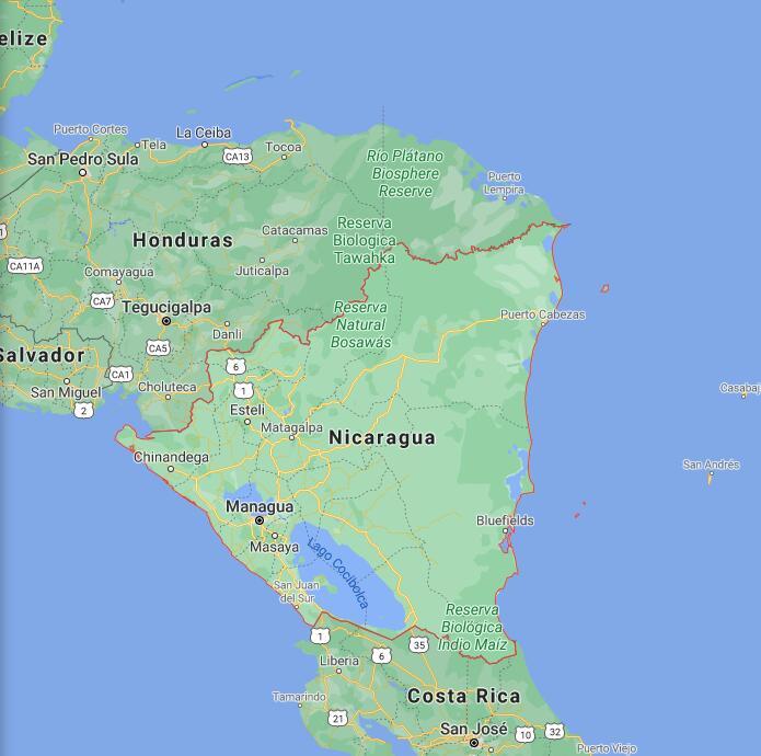 Nicaragua Border Map