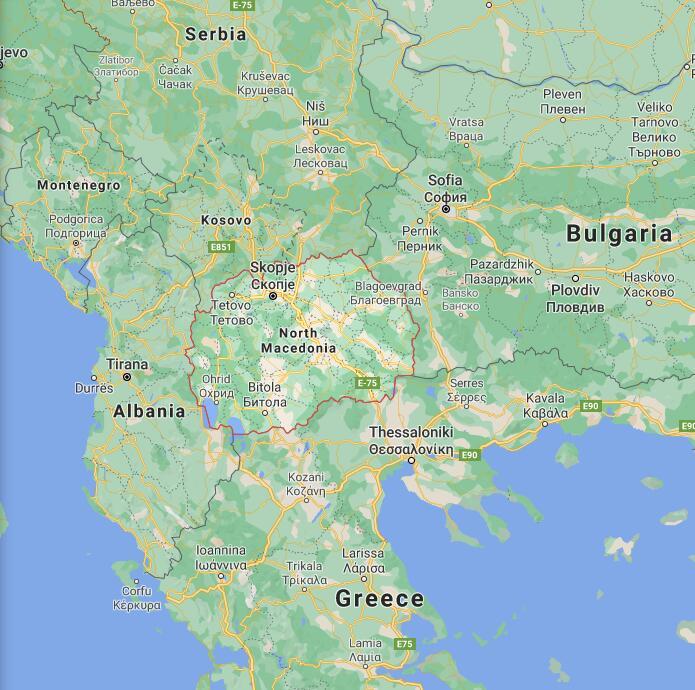 Northern Macedonia Border Map