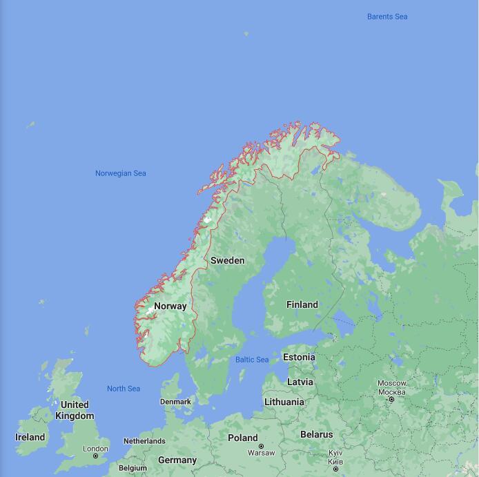 Norway Border Map