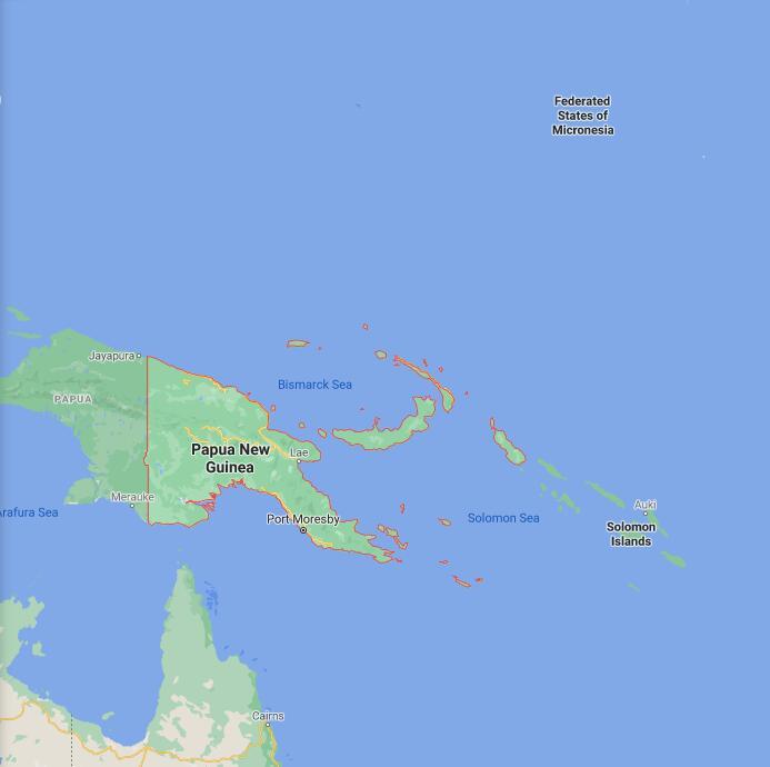 Papua New Guinea Border Map
