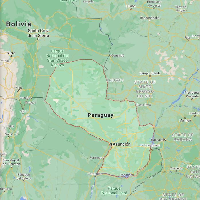 Paraguay Border Map