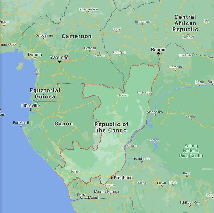 Republic Of The Congo Border Map