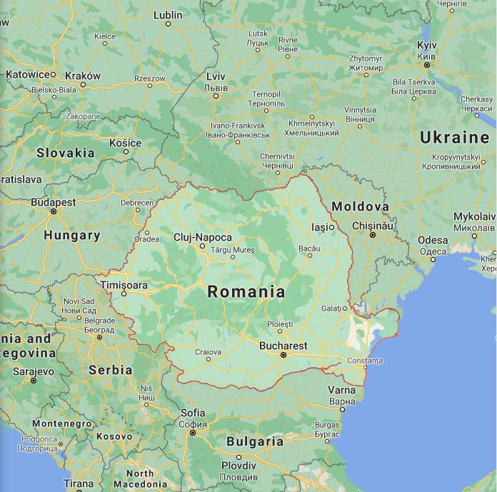 Romania Border Map