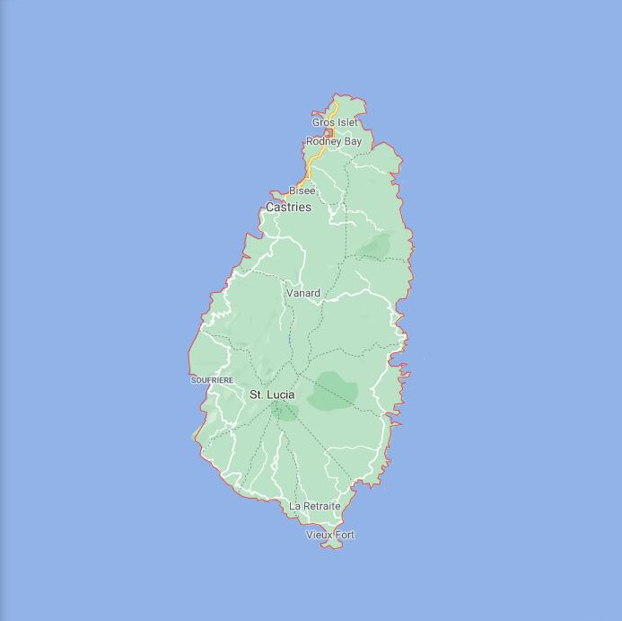 Saint Lucia Border Map