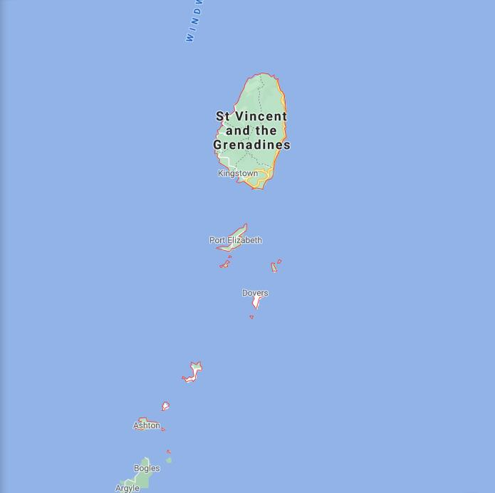 Saint Vincent and The Grenadines Border Map