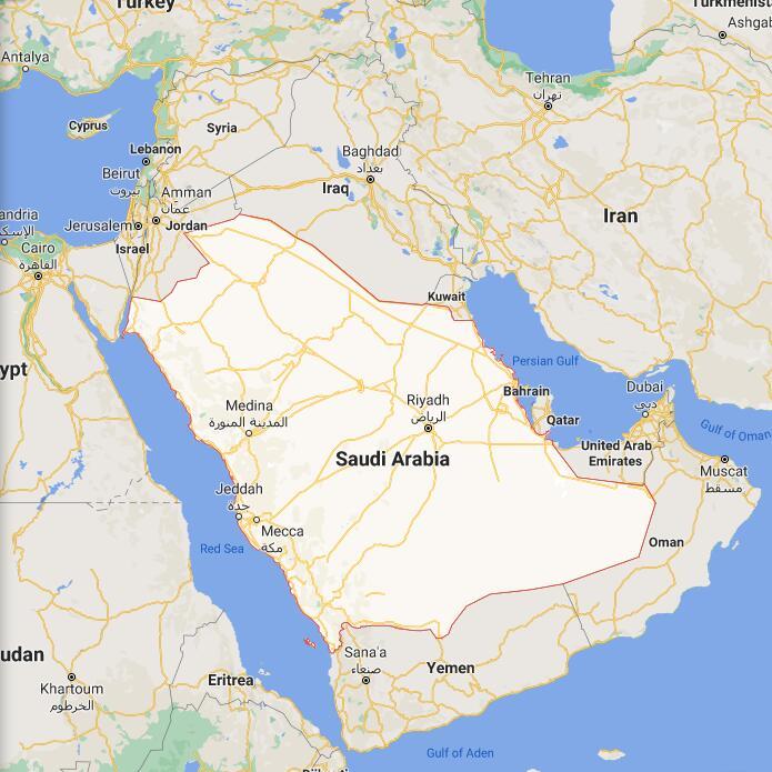 Saudi Arabia Border Map