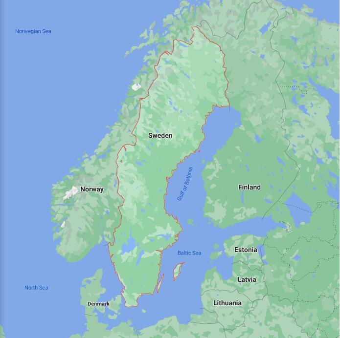 Sweden Border Map