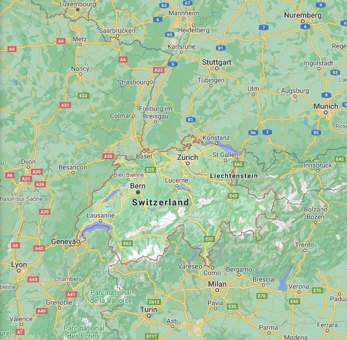 Switzerland Border Map