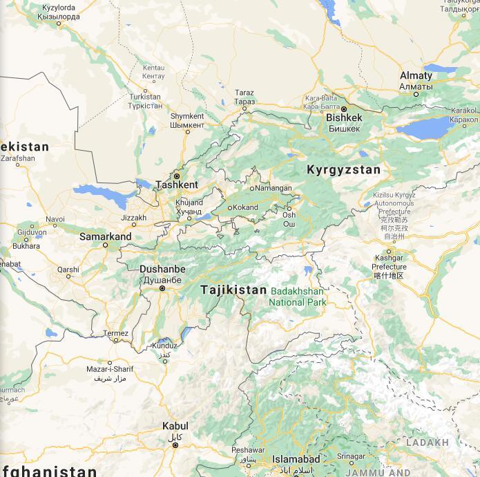 Tajikistan Border Map