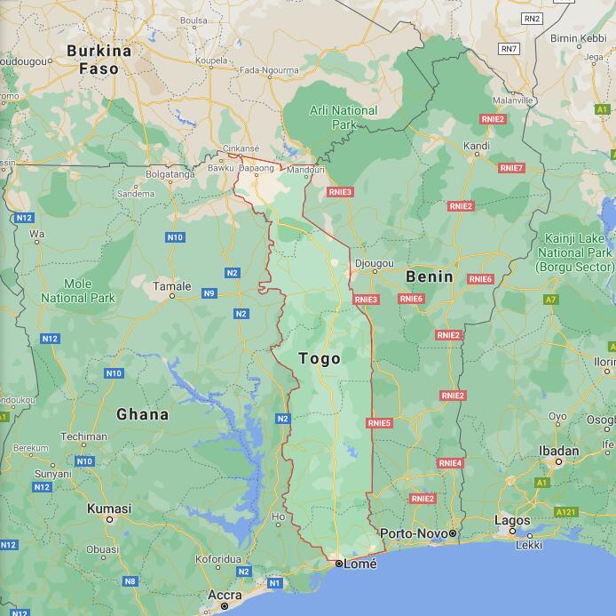 Togo Border Map