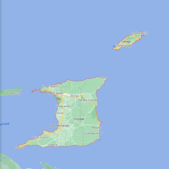 Trinidad and Tobago Border Map