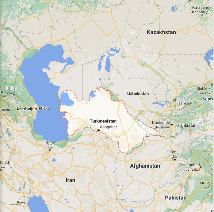 Turkmenistan Border Map