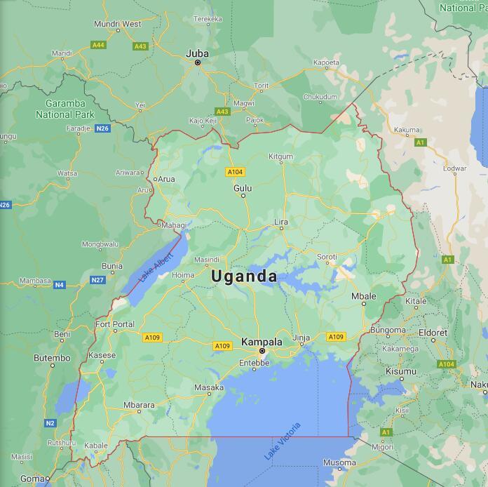 Uganda Border Map