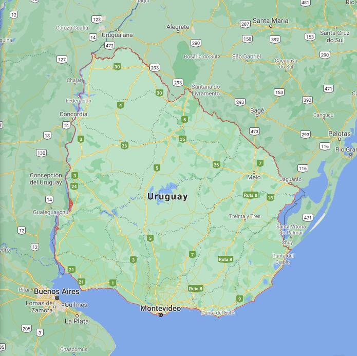 Uruguay Border Map