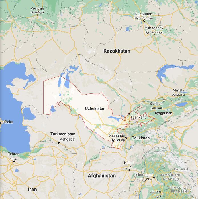 Uzbekistan Border Map