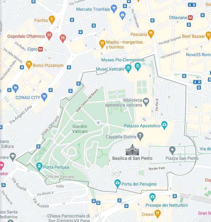 Vatican City Border Map