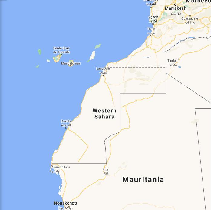 Western Sahara Border Map