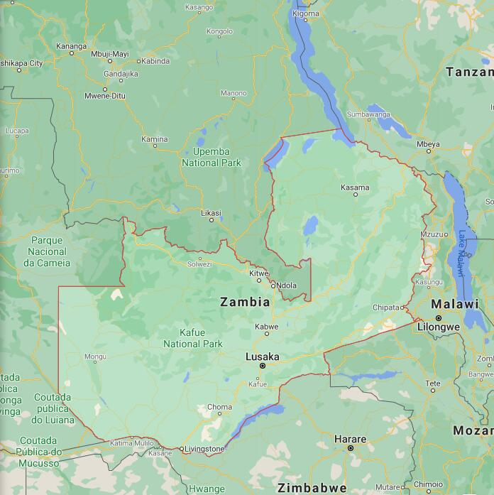 Zambia Border Map